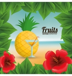 Pineapple cocktail and summer concept vector