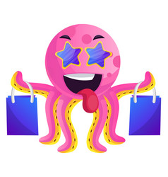 pink octopus with shoping bags on white background vector image