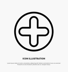 plus sign hospital medical line icon vector image