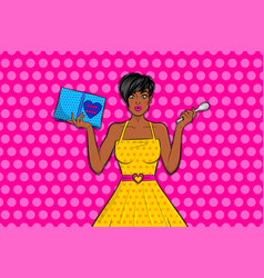 Pop art girl surprised face hold cooking book vector