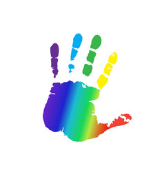 rainbow silhouette of human hand print isolated vector image