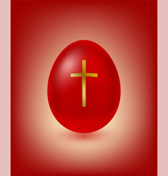Red easter egg with golden cross vector