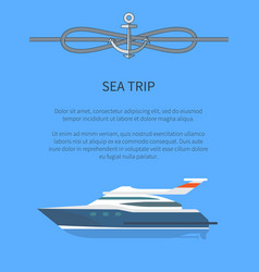 Sea trip ship and text sample vector