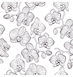 Seamless flower pattern with orchids vector image
