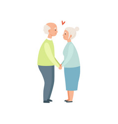 senior man and woman holding hands elderly vector image