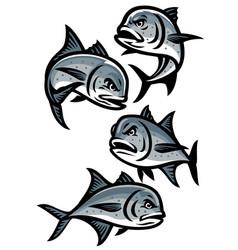Set giant trevally fish cartoon vector