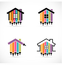 set house renovation icons painting services vector image