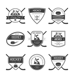 set ice hockey logos vector image