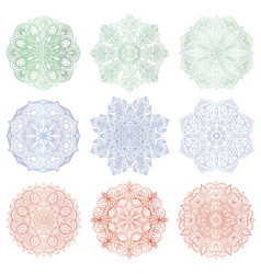 set of 9 hand-drawn arabic mandalas vector image
