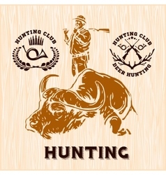 Set of Hunting Labels on wooden bakground vector image