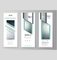 Set of roll up banner stands templates geometric vector
