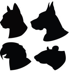 set silhouette cat dogratparrot heads vector image