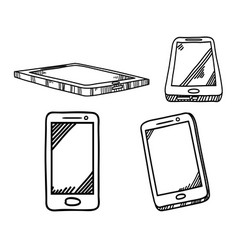 smartphone hand drawn sketch vector image