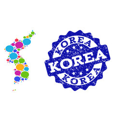 Social network map of korea with speech bubbles vector
