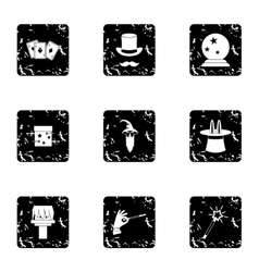 Sorcery icons set grunge style vector