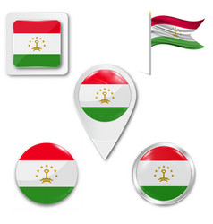Tajikistan flag in glossy round button icon vector