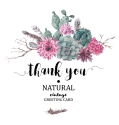 Thank You card with branches and succulent vector