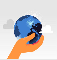 the control of planet earth in one hand vector image