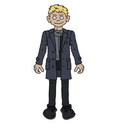 the funny blonde man in a gray coat vector image