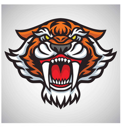Tiger saber tooth head logo mascot design vector