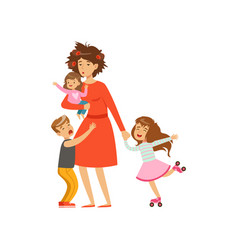 Tired mother with crazy hair and her three kids in vector