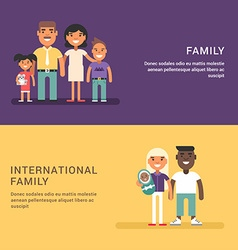 Traditional family of four and international vector image