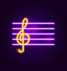 Treble clef neon sign vector