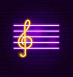 treble clef neon sign vector image