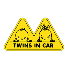 Twins in car sticker fases of baby boy and girl vector