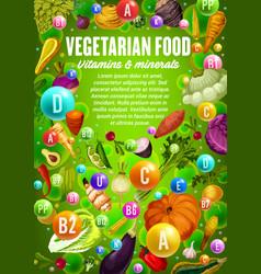 Vegetables beans herbs vegan vitamins minerals vector