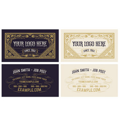 vintage business card with floral ornaments vector image