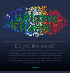 welcome to france travel desing background vector image