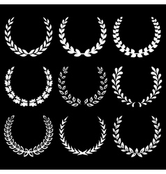 white laurel wreaths 1 vector image