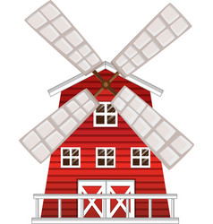 Windmill painted in red color vector