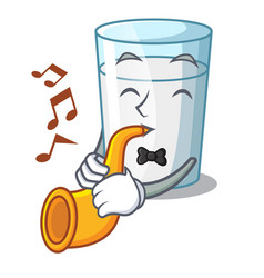 With trumpet fresh milk glass in cartoon table vector