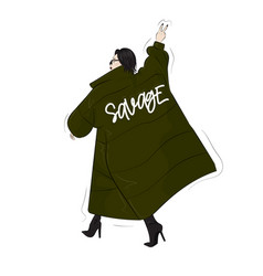 Woman in savage green oversize blanket coa vector