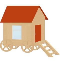 Wooden vintage caravan wagon flat design vector
