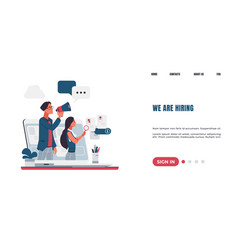 Workers hiring landing page recruitment concept vector