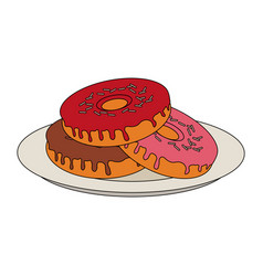 yummy sweet donut icon vector image