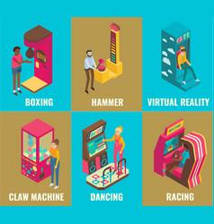amusement arcade game machine icon set flat vector image vector image