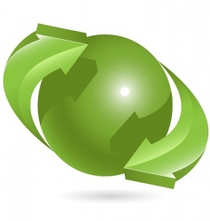 ball and green arrows vector image vector image