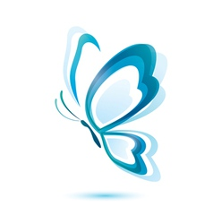 Blue butterfly beauty concept isolated symbol vector