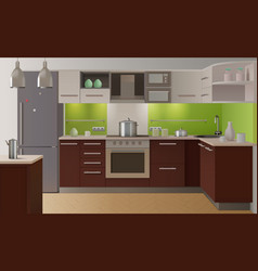 colored kitchen interior vector image vector image