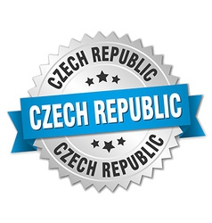 Czech Republic round silver badge with blue ribbon vector image vector image