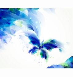 abstract butterfly with blue and cyan blots vector image vector image