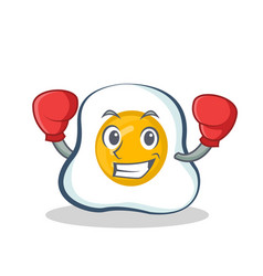 boxing fried egg character cartoon vector image vector image