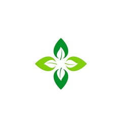 Circle green leaf abstract ecology logo vector