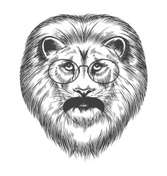 hipster lion with mustache and eyeglasses vector image vector image
