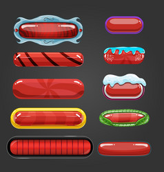 Set of red button for game design vector image vector image