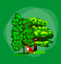 summer green forest tree and small animals in wild vector image